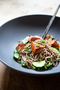 Sesame Soba Noodles with Smoked Salmon and Cucumber by feastingathome.