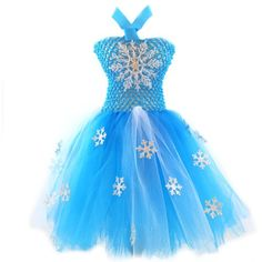 """Elsa Tutu Dress+perfect for Halloween or birthday party, or dress up! This Elsa inspired dress is perfect for any little princess. This turquoise dress is adorned with cute little frozen snowflakes. Clip on 4"""" Glitter Snowflake is removable and can be worn on the dress or in your hair.  Small fits clothing size 3 mo to 9 mo - Top: 5.5"""" x 6"""" - Skirt Length: 10""""  Large fits clothing size 2T to 5T - Top: 8.5"""" x 8.5"""" - Skirt Length: 10"""""""