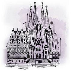 Illustration of Sagrada Familia in Barcelona