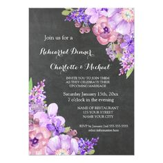 Chalkboard Purple Lavender Floral Rehearsal Dinner Card