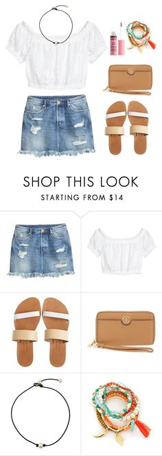 """Ripped Denim Skirt"" by nellielamay ❤ liked on Polyvore featuring H&M, Isapera, Tory Burch, True Craft and Charlotte Russe"
