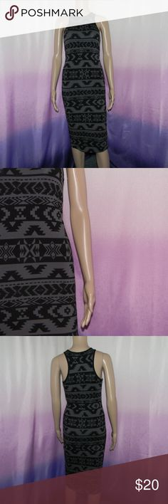 "Express Black and Grey Aztec Midi Dress Size xsmall, could fit small, very good condition, 95% cotton 5% spandex, 13.5"" bust, 12.5"" waist, 14.5"" hips, 41"" long, worn 2-3 times -Sorry NO TRADES and NO HOLDS -Ships from California -Comes from smoke free, dog friendly homes -I can't model at this time, the mannequin measurements are 32.5"" bust, 24"" waist, 34"" hips, and is 5'10"" and a size S/M -Items are measured by hand and done laying flat Express Dresses Midi"