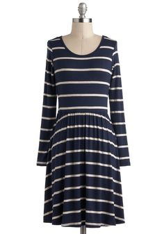 Every Minute Counts Dress - Blue, Stripes, Casual, A-line, Long Sleeve, White, Nautical, Mid-length