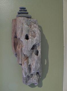 Driftwood, driftwood shelf, driftwood art, gift idea, beach art, beach decor, rustic decor, Zen decor, rock cairn, granite stones