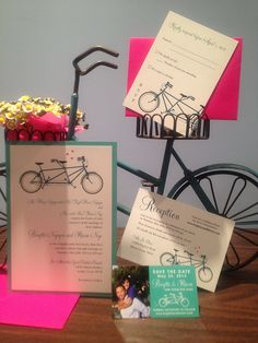 bicycle bridal shower invitations, bicycle baby shower invitations, bicycle birthday invitations, bicycle candy bags, bicycle rehearsal dinner party, bicycle engagement party