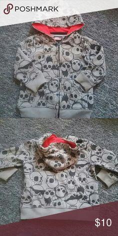 Toddler Skull Hoodie Dickies Black skulls on grey with red hooded liner...w/pockets..gently worn.. Dickies Shirts & Tops Sweatshirts & Hoodies