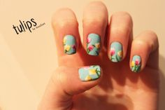 knailart: Tulip flowers Nail Art design (how to described in blog post)