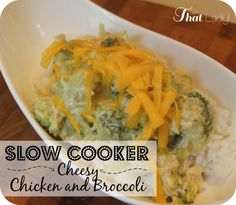 Try this super easy slow cooker - cheesy chicken and broccoli dish! #frugalliving #slowcooker #DIY