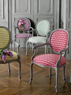 "Grey Louis XVI Chairs w/ rope detailing.  Herringbone Floors and Terrific fabric from Manuel Canovas ""Saint Remmy""."
