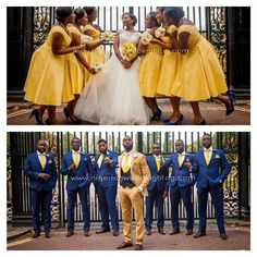 Nigerian Wedding: 50 Beautiful Color Coordinating Ideas For Your Bridesmaids & Groomsmen Yellow Bridesmaid Dresses, Bridesmaids And Groomsmen, Groomsmen Poses, Wedding Suits, Wedding Attire, Royal Blue Suit Wedding, Wedding Dresses, Blue Groomsmen Suits, Blue Suits