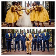 Nigerian Wedding: 50 Beautiful Color Coordinating Ideas For Your Bridesmaids & Groomsmen Yellow Bridesmaid Dresses, Bridesmaids And Groomsmen, Groomsmen Poses, Blue Groomsmen Suits, Blue Suits, Men's Suits, African American Weddings, Wedding Suits, Royal Blue Suit Wedding