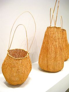 +sophie munns : visual eclectica : Floating Life: Contemporary Aboriginal Fibre Art at GOMA Gallery Of Modern Art, Textiles, Basket Bag, Weaving Art, Aboriginal Art, Aboriginal Culture, Textile Art, Basket Weaving, Wicker Baskets