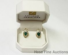 Genuine Natural Emerald Diamond Heavy 14K Yellow Gold Omega Back Earrings W. Box #Clip