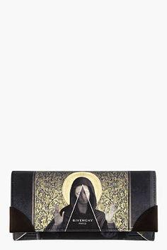 GIVENCHY Black & gold Madonna Print Wallet