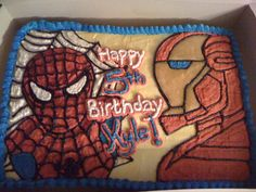 Superhero Sheet Cake | ... cake spiderman and ironman cake made for a 5th birthday tha cake is a