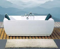 71 x 34 Two Person Whirlpool Jetted Bathtub with Dual Head Rests, Bath Filler, Hand Shower