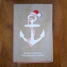 Coastal Christmas Hand Towel - Anchor