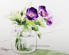 Watercolor Painting Print Purple Flowers in Glass Jar Floral Bouquet Garden