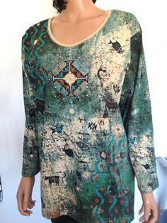 Cactus Plus Size XXL  Cotton Top Tribal Women Kokopelli Designer Fashion Beaded  | eBay