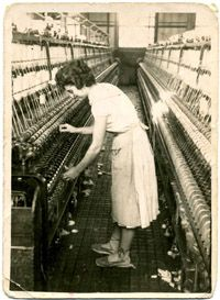 Lady working circa 1940 in the Catalan textile industry, Catalonia