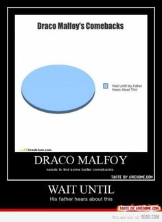 Draco Malfoy has other comebacks. You have to actually read the BOOKS. The movies don't have everything in them; I'm assuming whomever made this hasn't read the books a billion times, can't quote the whole second movie even though they made a picture thingy about it, their room isn't themed Harry Potter, their last birthday party wasnt themed Harry Potter, and they weren't Hermione Granger for Halloween. All of those things I have done, or I can do. Like the movie thing.