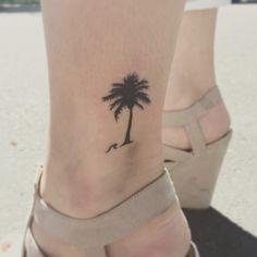 I'm in love with my new tattoo!!  Palm tree tattoo wave tattoo tattoos for a girl cute tattoo ocean tattoo beach tattoos