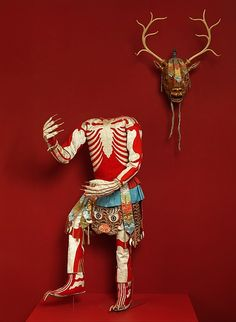 Skeleton dance costume with stag mask, late 19th or early 20th century, Tibet