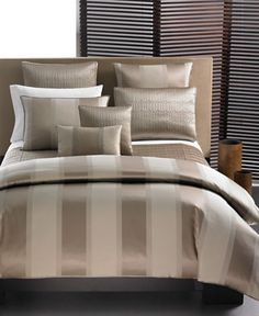 "Hotel Collection ""Wide Stripe Bronze"" Bedding Collection - Bedding Collections - Bed & Bath - Macy's Bridal and Wedding Registry Comforter Sets, Pillow Shams, Hotel Collection Bedding, European Pillows, Hotel Bed, Luxury Bedding Collections, Wide Stripes, King Duvet, Home Decor"
