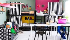 A kids bedroom with four personalized bunkbeds-ikea Bedroom Furniture Inspiration, Ikea Inspiration, Ikea 2014, Ikea Bunk Bed, Bunk Beds, Ikea Bedroom Design, Bedroom Designs, Hacks Ikea, Shared Rooms