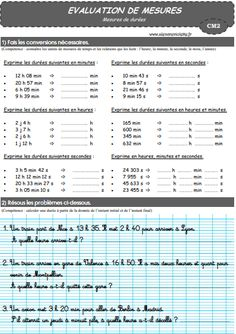 EVALUATION Mesures de durées School Organisation, Cycle 3, Sheet Music, Teaching, Words, Health, Multiplication, Babies, Math