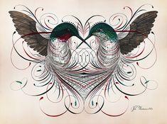 An illustration combined with calligraphy art piece by Jake Weidmann. Body Art Tattoos, New Tattoos, Tribal Rose Tattoos, Sculpture Art, Sculptures, Black Tattoo Art, Hummingbird Tattoo, Colossal Art, Penmanship