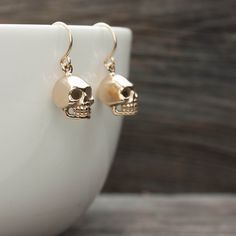 Skull Earrings - Bronze 3D Skull Charms on 14K Gold-Filled Earwires . Gift Ideas for Her . Womens Jewelry by sevgicharms on Etsy