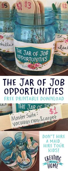 The Jar of Job Opportunities {Money Jar} - creatingmaryshome.com