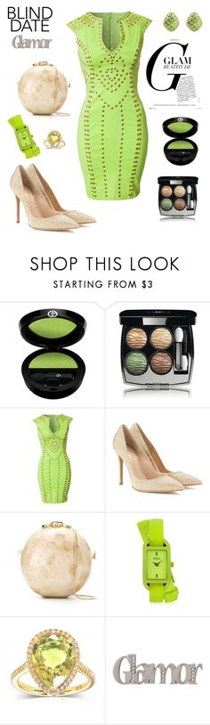 """""""Blind date Glam"""" by agnesmakoni ❤ liked on Polyvore featuring Giorgio Armani, Chanel, Lipsy, Gianvito Rossi, Serpui, Versus, Kobelli and blinddate"""