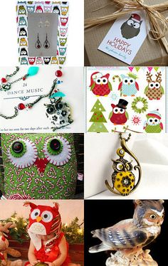 """Adorable Owls are featured in this great Etsy Treasury, """"""""hOWLing Good Holidays by Angelique--Pinned with TreasuryPin.com"""
