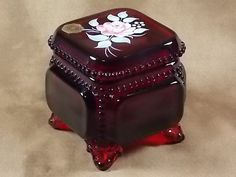 Vintage Circa 1979 As New Condition, Discontinued  Hand Made Beaded Ruby Floral Victorian Trinket Box Line #VTB-1 by Westmoreland Glass, Made