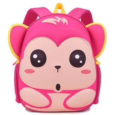 BH Little Kids Red Rose Monkey Cartoon Backpack