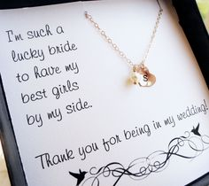 Personalized Bridesmaid gifts, Bridesmaid necklace set, Maid of Honor Gift, Bridesmaid thank you, initial necklace with freshwater pearl. $26.00, via Etsy.