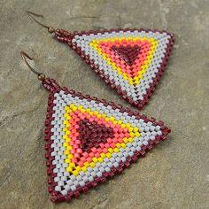 Grey Scarlet Yellow and Dark Ruby Seed bead earrings by Anabel27shop  Peyote earrings, colorful beaded summer jewelry