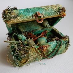 altered wooden box- mixed media- sea theme- crackle paste