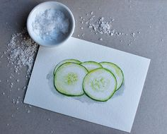 Cucumber Slices - Still Life, Fresh, Spring Green, Food, Kitchen Art - Print of Watercolor Painting. $15.00, via Etsy.