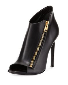 Calf Leather Side-Zip Bootie, Black by TOM FORD at Neiman Marcus.