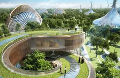 45 futuristic energy-efficient villas in Kunming, Southwest China, designed by Vincent Callebaut Architecture, produce more energy than they consume. Nature Architecture, Architecture Design, Innovative Architecture, Futuristic Architecture, Sustainable Architecture, Sustainable Design, Amazing Architecture, Chinese Architecture, Architecture Office