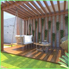 Modern Decor - How about this pergola with Balancinho to mark the end of Sunday . Modern Decor - How about this pergola with Balancinho to mark the end of Sunday . 60 Best and Shady Pergola Ideas Diy Pergola, Building A Pergola, Wooden Pergola, Outdoor Pergola, Pergola Roof, Cheap Pergola, Pergola Lighting, Building Plans, Pergola Canopy
