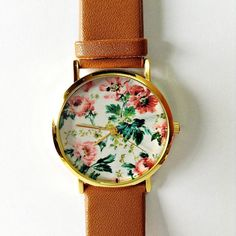 Floral Watch, Vintage Style Leather Watch, Women Watches, Unisex Watch, Boyfriend Watch, Black, Tan,