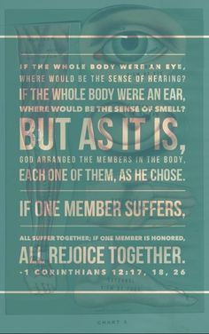 << 1 Corinthians 12:17-18, 26 >>  We are the body of Christ. We need each other.