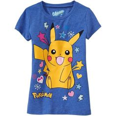 Old Navy Girls PokÉMon Pikachu Tees - Blue ($11) ❤ liked on Polyvore featuring tops, shirts, pokemon and t-shirts
