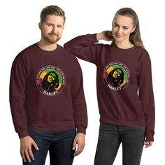 Live the Life You Live Quote by Marley, Men's Quote Sweatshirt - Maroon / S