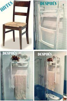 Aquí tenéis una de las ideas más creativas que hemos visto para reutilizar sillas antiguas: convertirlas en toalleros.