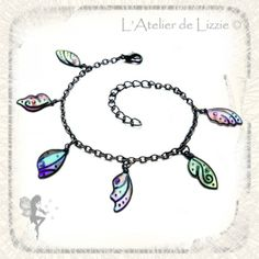 Bracelet Mini Ailes de Fées Noir/Multicolor - chaîne noire